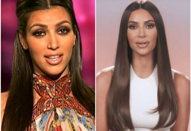 DA OG NÅ: Kim Kardashian i 2007 versus 2020. FOTO: E! News