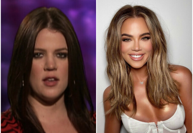 ANNERLEDES: Khloé Kardashian har gjennomgått en totalforvandling siden første «Keeping Up With The Kardashians»-sesong. Bildet til høyre skapte storm på nettet – man kjenner henne tross alt nesten ikke igjen? FOTO: E! News