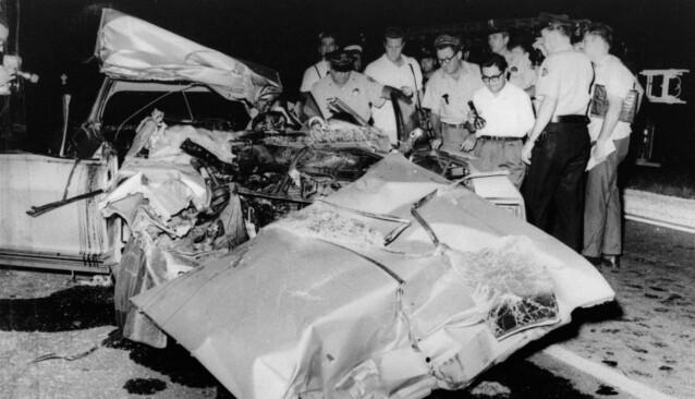 DØDSULYKKE: Det fatale krasjet skjedde på Route 90 utenfor New Orleans 29. juni 1967. De tre voksne i bilen omkom. FOTO: NTB scanpix