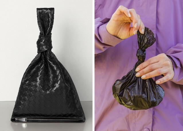 SAMMENLIGNES: Bottega Veneta-vesken til venstra sammenlignes med en søppelpose. Foto: Bottega Veneta og NTB Scanpix/Shutterstock