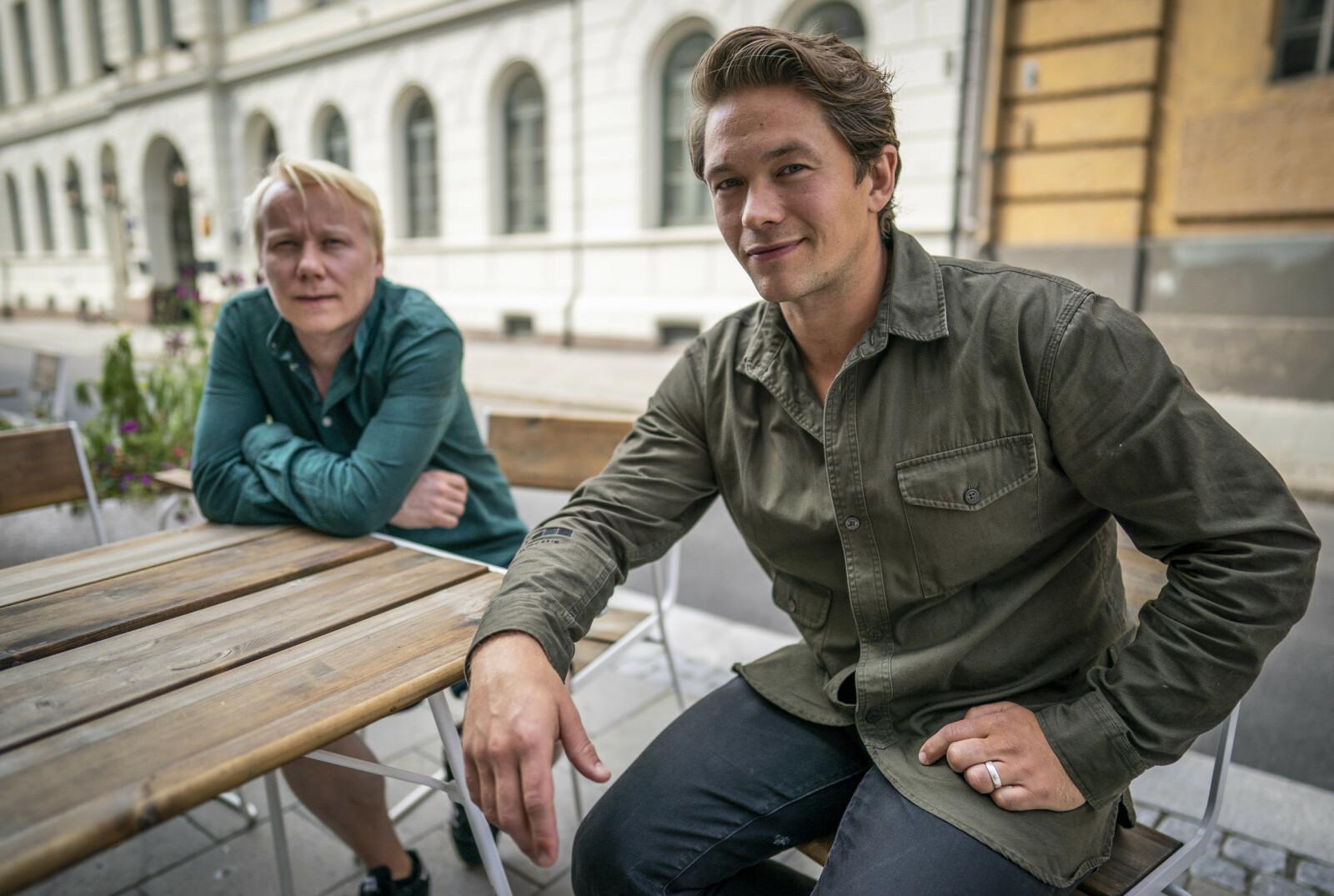 DEN STØRSTE FORBRYTELSEN: Skuespiller Jakob Oftebro og regissør Eirik Svensson var til stede på Cinemateket i Oslo i august, for å snakke om dramafilmen Den store forbrytelsen, som har premiere 1. juledag. FOTO: Heiko Junge / NTB scanpix