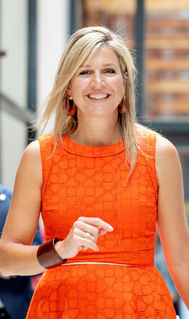 OFTE ORANSJE: Nederlandske dronning Maxima i en lekker oransje kjole på en tilstelning i 2020. Foto: NTB Svanpix.