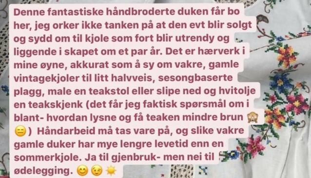"""SKAPTE ENGASJEMENT: Meldingen Camilla skrev på Instagramkontoen """"Tidstypisk""""."""