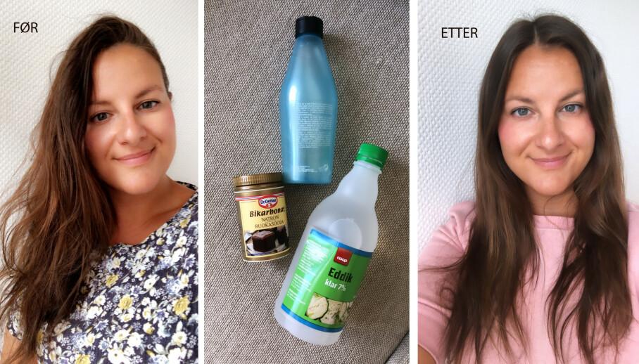 ANGRE PÅ HÅRFARGE: KKs journalist Malini Gaare Bjørnstad forsøkte å reversjere hårfargen, ved bruk av billige produkter man finner på matbutikken. Resultatet er ikke helt overbevisende. FOTO: Privat