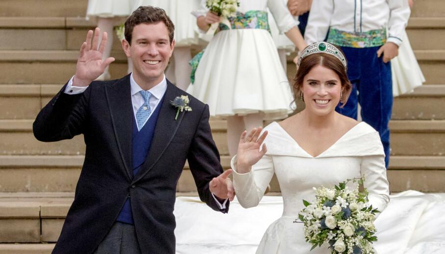 <strong>VENTER SITT FØRSTE BARN SAMMEN:</strong> Jack Brooksbank og prinsesse Eugenie delte gledelige nyheter på Instagram. Foto: NTB