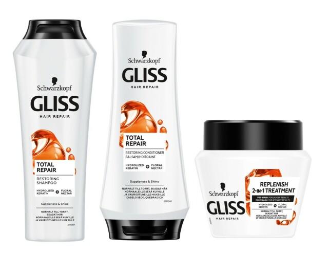 Gliss Total Repair shampoo, balsam og hårkur. Produktserien er tilgjengelig på Coop.