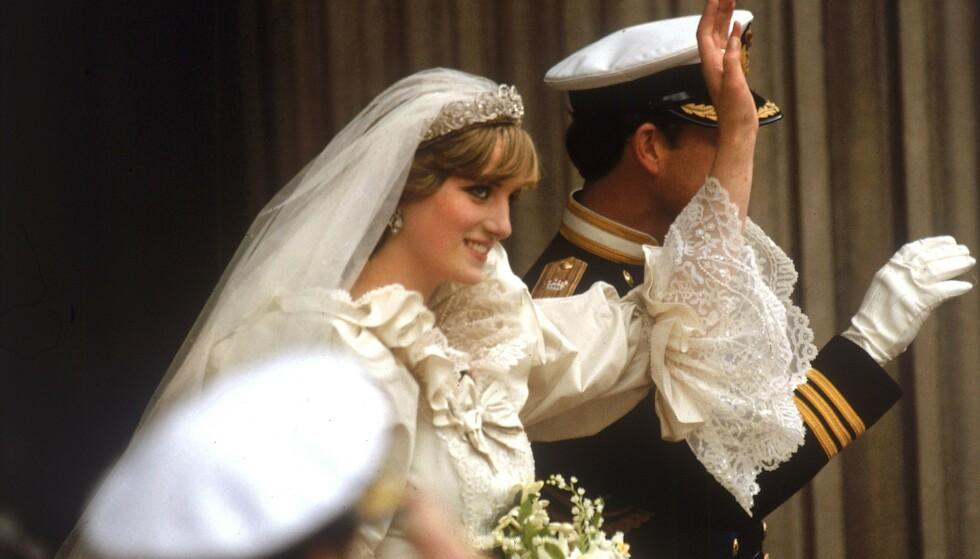 SPEKTAKULÆR BRUDEKJOLE: Dianas brudekjole er noe vi fremdeles snakker om. Kanskje ikke så rart - bare se på de detaljene! Foto: NTB