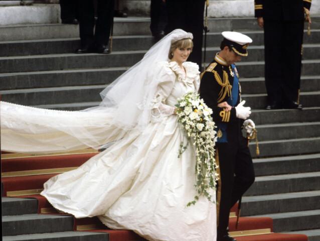 WOW! Det var bare en ting å si om Dianas kjole da hun giftet seg med prins Charles 29. juli 1981. FOTO: Scanpix