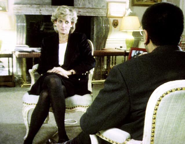 <strong>SLITEN:</strong> Diana under det avslørende TV-intervjuet med Martin Bashir for BBC i 1995. FOTO: Scanpix.