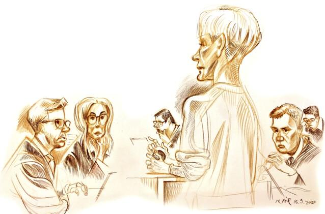 HELSEAPP OPP I RETTEN: Tegning av Laila Anita Bertheussen som forklarer seg i Oslo tingrett høsten 2020. Under rettssaken er det lagt ned delvis fotoforbud. ILLUSTRASJON: Egil Nyhus / NTB
