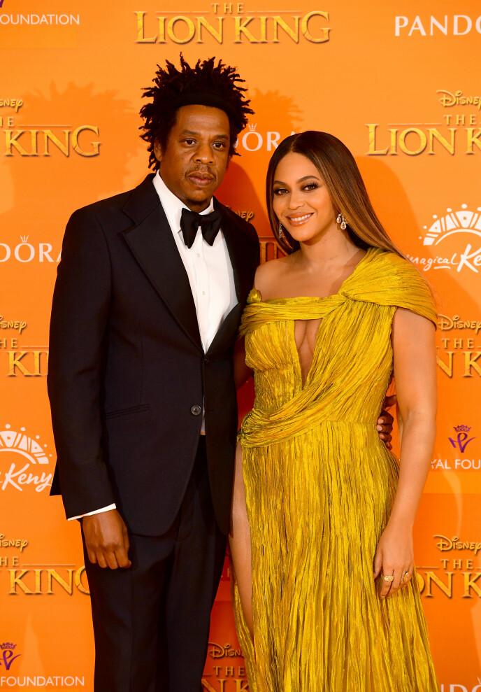 SJELDEN SYN: Det er ikke ofte Jay-Z også Beyonce er å se på den røde løperen, men da Beyonce hadde stemmen som Nala i den nye Løvenes Konge-filmen, måtte de selvfølgelig gjøre et unntak. Foto: NTB