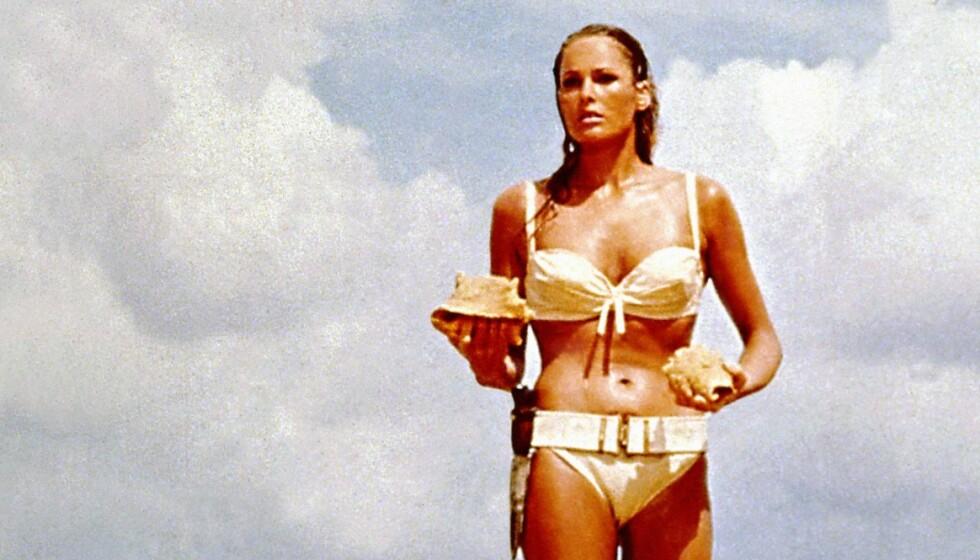 BOND-PIKE: Det er 58 år siden Ursula Andress spilte rollen som Honey Ryder i James Bond-filmen Dr. No. Foto: NTB