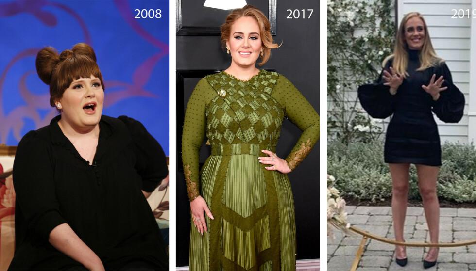 FORVANDLING: Det er ingen tvil om at den britiske artisten Adele har gjennomgått en forvandling de siste årene. FOTO: NTB og Instagram