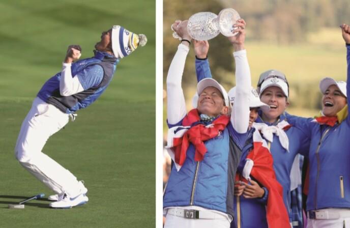 FERDIG: Dette er fra da Suzann Pettersen vant Solheim Cup i 2019 og avsluttet golfkarrieren med flagget til topps. FOTO: NTB