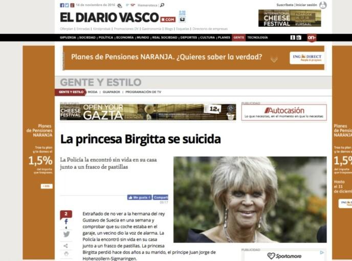 FALSK DØDSBUDSKAP: Nei, prinsesse Birgitta av Sverige var ikke død. FOTO: Faksimile El Dario Vasco