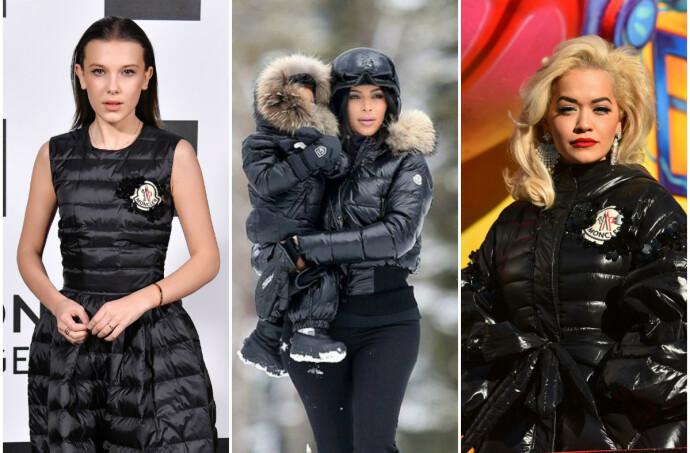POPULÆRT: Millie Bobby Brown (16), Kim Kardashian – her med North (7) på armen i 2016 – og Rita Ora (29) er blant de mange stjernene som har lagt sin elsk på luksusmerket Moncler. FOTO: NTB