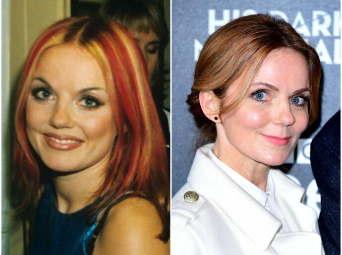 GINGER SPICE: Geri Halliwell i 1996 til venstre, i 2020 til høyre. FOTO: NTB