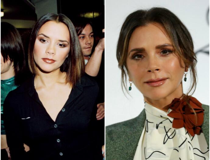 POSH SPICE: Victoria Beckham i 1997 til venstre, i 2019 til høyre. FOTO: NTB
