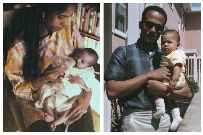 MOR OG FAR: Kamala i armene til mamma Shyamala Gopalan Harris, da 25. Til venstre sitter hun på armen til pappa Donald Harris. FOTO: Kamala Harris campaign/AP/NTB