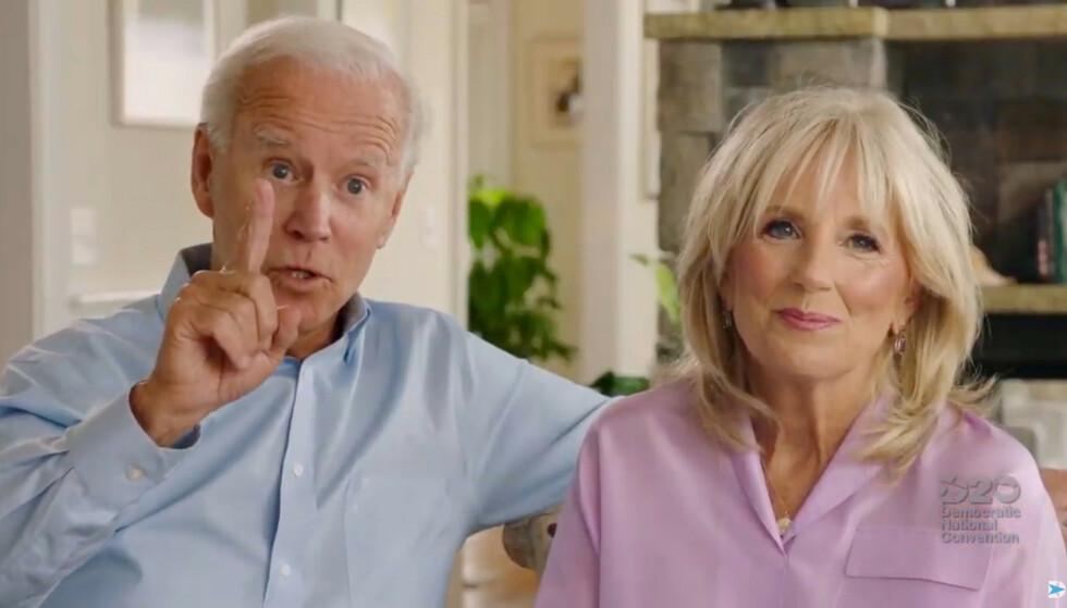 PERSONLIG: Joe og Jill Biden snakker om sitt personlige liv i anledning av nominasjonen til demokratenes presidentkandidat i augst i år. På grunn av koronapandemien ble møtet holdt virtuelt. FOTO: NTB