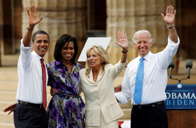 TIDLIGERE VISEPRESIDENT: Joe Biden (t.h.) var visepresidenten til Barack Obama (t.v.) Foto. NTB