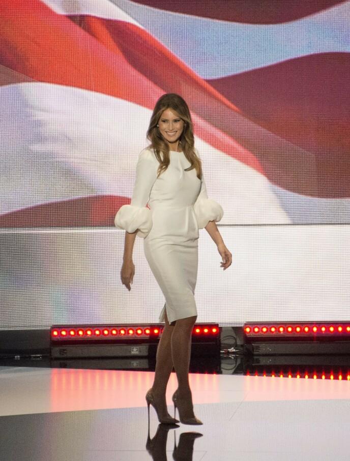 2016: Denne Roksanda-kjolen til 20 000 kroner ble utsolgt etter at Melania Trump hadde den på seg. Foto: NTB