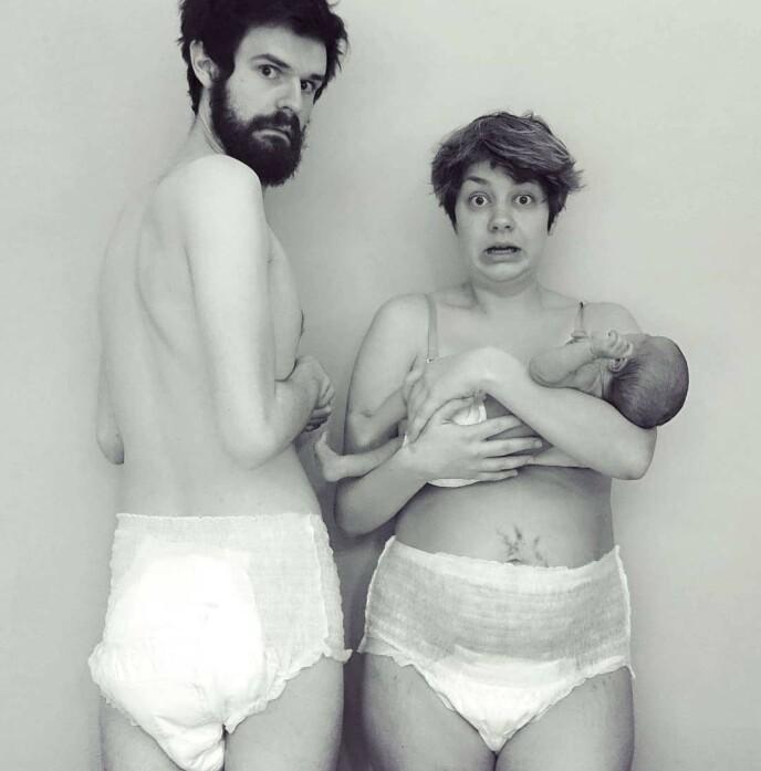 SER HUMOREN I DET MESTE: Hverken Julie eller ektemannen Espen er redde for å by på seg selv. FOTO: Privat
