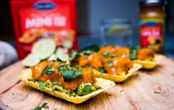ENKELT OG VANVITTIG GODT: Taco med panert laks er superenkelt å lage. I tillegg smaker det fantastisk.