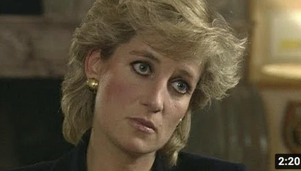SLITEN: Under BBC-intervjuet kom Diana med påstander om utroskap, og mente de hadde vært tre i ekteskapet. FOTO: Skjermdump BBC/Youtube