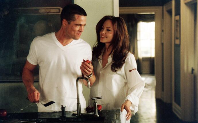 BEGYNNELSEN: Brad Pitt og hans fremtidige (eks-)kone, Angelina Jolie, møttes under innspillingen av «Mr. & Mrs. Smith» i 2005. Siden den gang har det ryktes at duoen ble kjærester mens Brad fremdeles var gift med Jennifer Aniston. FOTO: NTB