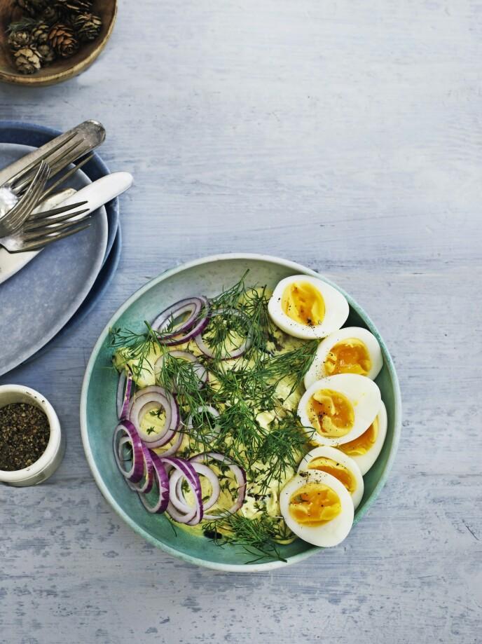 En slags karrisild, bare uten sild. Auberginene gir salaten masse fylde. FOTO: Columbus Leth