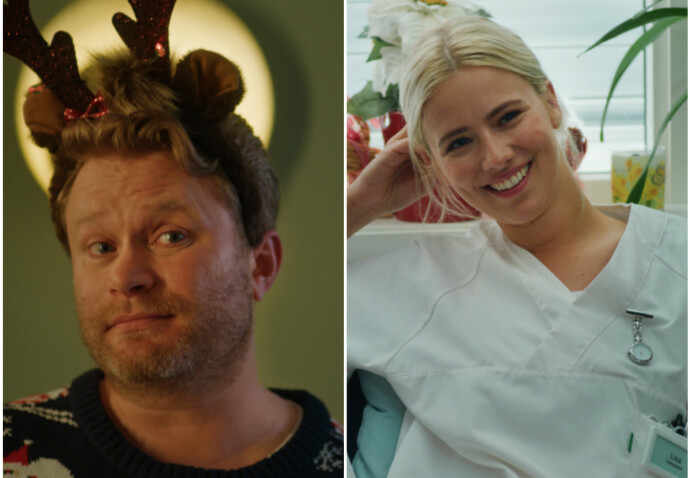 NYE TILSKUDD: Edward Schultheiss og artist Dagny Norvoll Sandvik, best kjent kun ved fornavnet sitt, dukker opp i andre sesong av «Hjem til jul». FOTO: Netflix