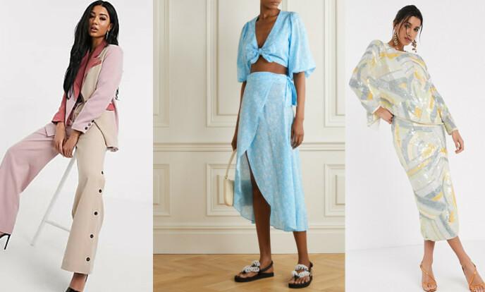 FRA VENSTRE: Dress fra Unique21 via Asos, fra kr 700. Blå topp fra Ganni, kr 998. Skjørt fra Ganni, kr 1303 (begge via Net-a-porter.com). Matchende sett fra Asos, kr 1200.