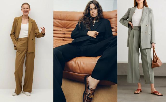 FRA VENSTRE: Dress fra Mango: blazer kr 399 og bukse kr 699. Svart blazer fra Zara, kr 999. Bukse som står i stil fra Zara, kr 299. Dress fra Frankie Shop: blazer cirka kr 4000 og bukse cirka kr 2500.