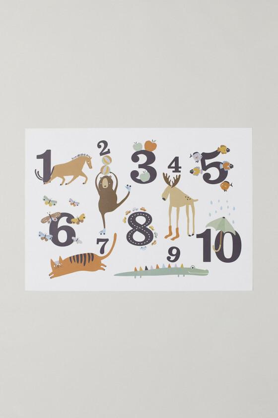 Plakat med tall (kr 150, H&M Home).