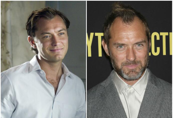 DA OG NÅ: Jude Law i 2004 til venstre og i 2019 til høyre. FOTO: NTB