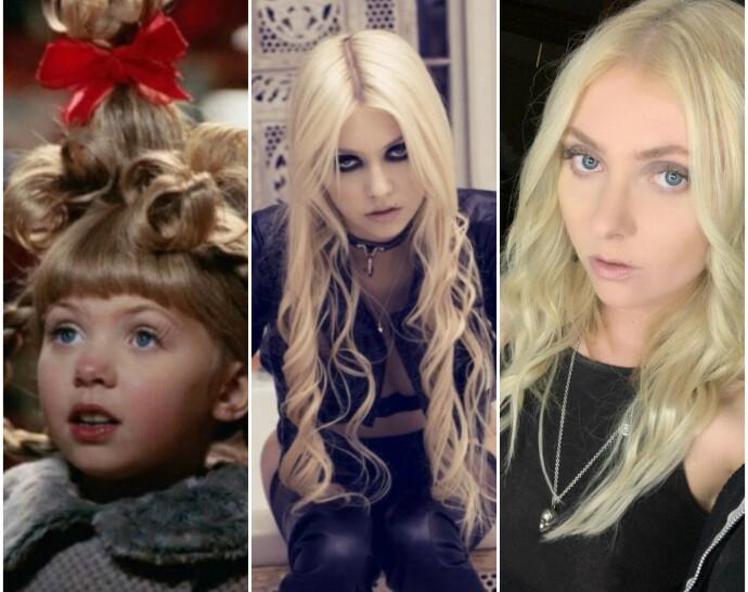 DA OG NÅ: Bildet helt til venstre er av Taylor Momsen som Cindy Lou Who i «Grinchen» i 2000, mens bildet i midten er tatt i 2017. Til høyre er Momsen avbildet tidligere i år. FOTO: Skjermdump/Instagram