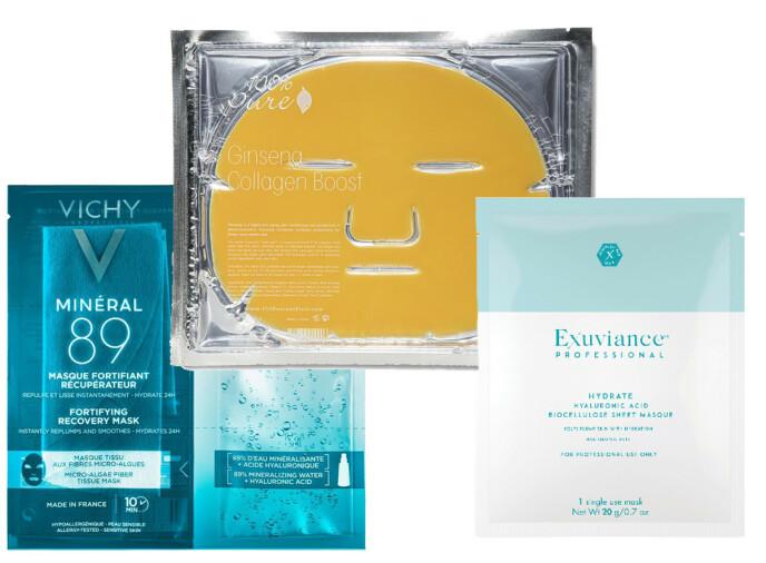 Fra venstre: Vichy, fra kr 50. 100% Pure Ginseng Collagen Mask via Karma.no, kr 79. Exuviance, kr 145.