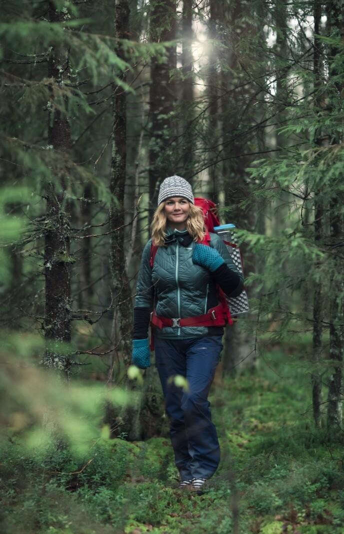 Jakke fra Bergans, lue fra Devold, bukse fra Norrøna og sekken og vottene er Annes private. FOTO: Astrid Waller