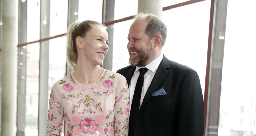 """Bergen  20180505. Truls Svendsen med kjresten Charlotte Smith ankommer """"Gullruten"""" i Grieghallen. Foto: Berit Roald / NTB"""