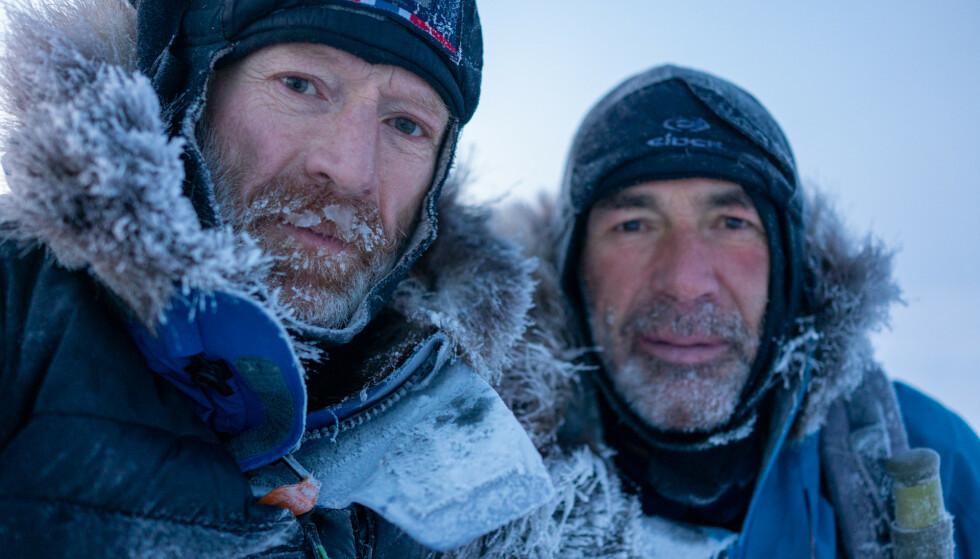 EXIT NORDPOLEN: Eventyrerne Børge Ousland og Mike Horn legger ut på sin livs tur - med hårete mål. Gjennomfører de? FOTO: NRK