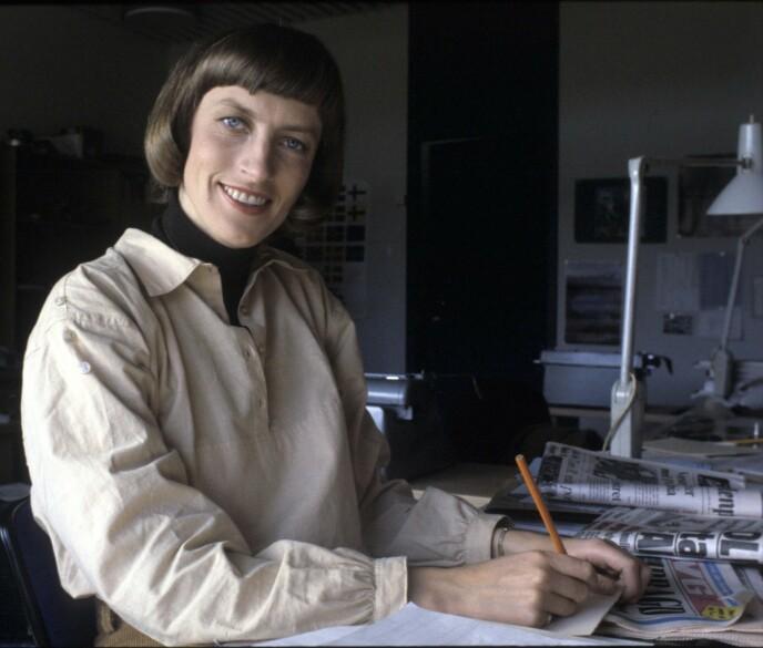Karen-Marie Ellefsen på jobb som vikar for NRK i 1978, året før hun begynte i sportsavdelingen.
