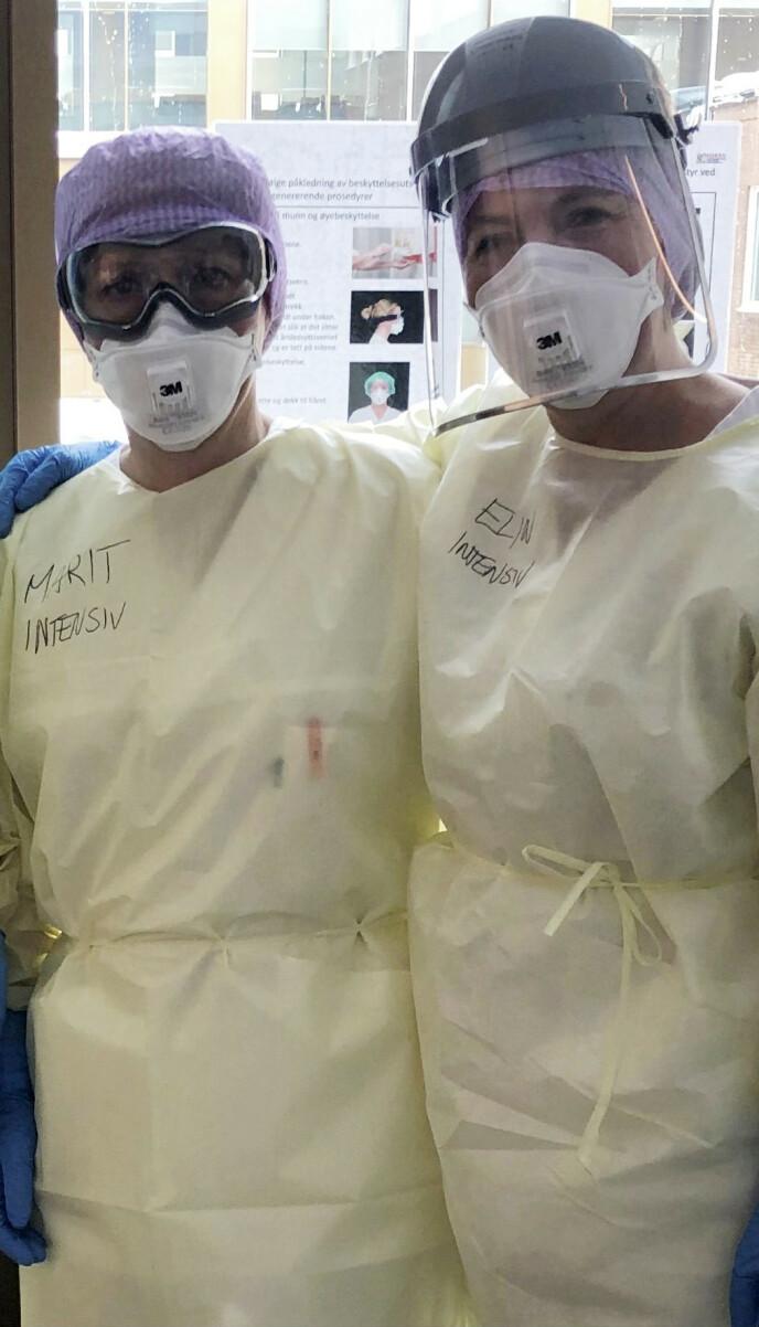– Jeg har lært utrolig mye av dette, sier intensivsykepleier Marit Nyhus (t.v.). FOTO: Privat