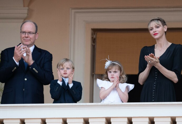 Mandatory Credit: Photo by POOL MONACO/SIPA/Shutterstock (10689628x) Princess Charlene of Monaco and Prince Albert II of Monaco with their children Princess Gabriella of Monaco and Prince Jacques of Monaco stand on the balcony of the Prince's Palace of Monaco during the celebrations of Saint Jean procession Saint Jean procession, Monaco - 23 Jun 2020