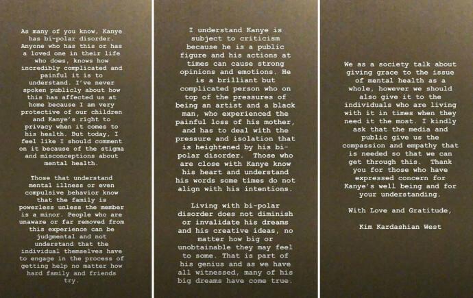 UTTALELSEN: Kim Kardashians uttalelse i kjølvannet av Kanye Wests Twitter-tirade i juli 2020. FOTO: Instagram