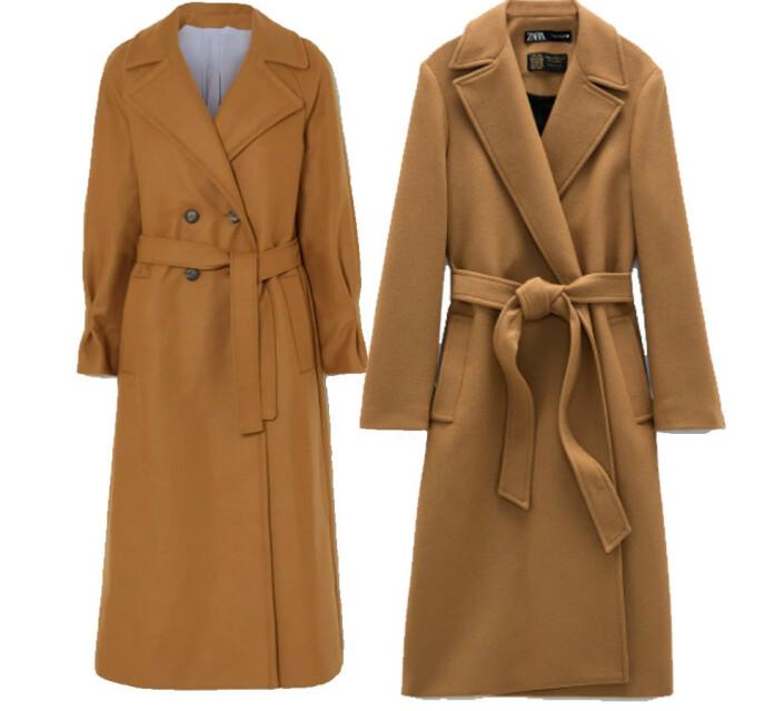 BILLIG VS DYR: Kåpen til venstre fra Yoox Net-a-porter for the Prince's Foundation og koster kroner 17389. Kåpen til høyre er fra Zara og koster 1595 kroner.