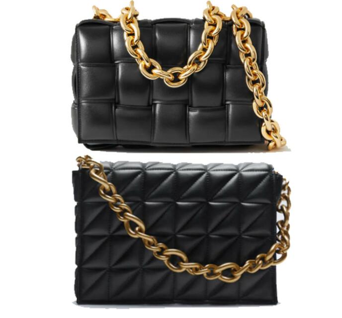 BILLIG VS DYR: Vesken øverst er fra Bottega Veneta og koster kroner 36400. Vesken under er fra Zara og koster 449 kroner.