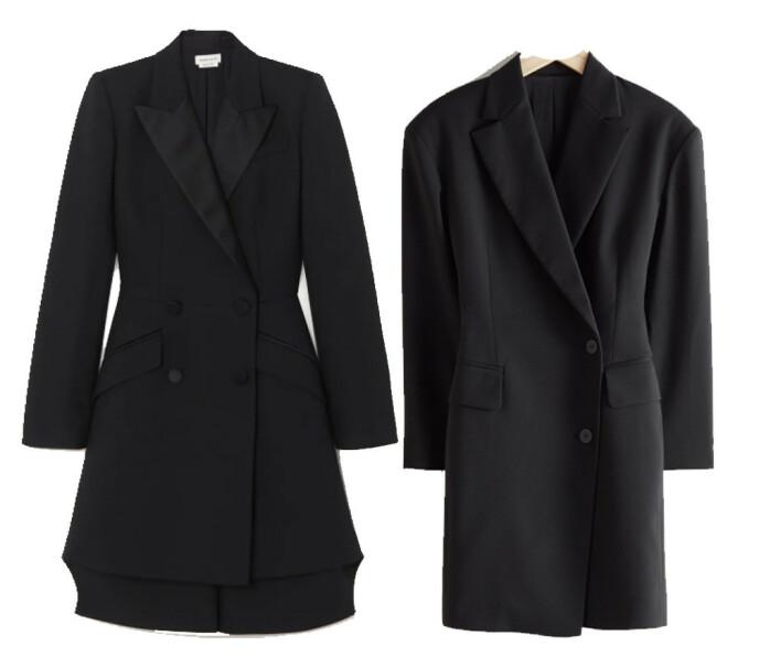 BILLIG VS DYR: Blazerkjolen til venstre fra Alexander McQueen og koster kroner 35500. Blazerkjolen til høyre er fra & Other Stories og koster 900 kroner.