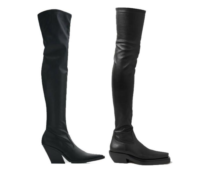 BILLIG VS DYR: Skoen til venstre fra Zara og koster kroner 599. Skoen til høyre er fra Bottega Veneta og koster 18570 kroner.