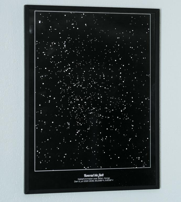 NY STJERNE: Slik så stjernehimmelen ut over Skien den natten Konrad ble født. FOTO: Vegard Giskehaug